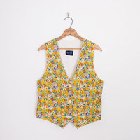 Cat Vest Cat Print Vest Crazy Cat Lady Kitten Kitty Yellow Sunflower Butterfly Novelty Print 80s Vest 90s Vest Shirt Blouse Top M Medium