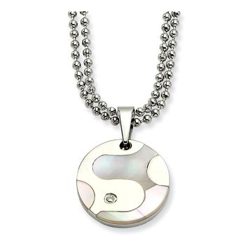 Stainless Steel Polished & Mother of Pearl Circle w/ CZ 22in Necklace