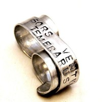 Custom Silver Double Finger Ring, Hand stamped Ring, Sors Ventus Temerarus, Fortune Favors the Bold Two Finger Ring