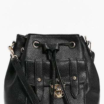 Amy Metal Clasp Pocket Front Duffle Bag | Boohoo