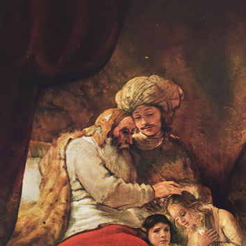 Vintage Art Print, Rembrandt Print, Jacob Blessing the Son of Joseph, Folio Bookplate / Master Painting, Baroque Art, Wall Art for Framing