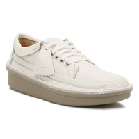 Clarks Mens White Leather Oswyn Lo Shoes