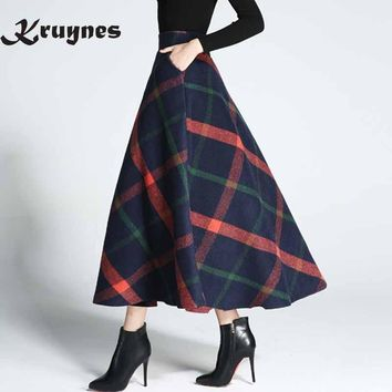 Women Woolen Skirts Autumn Winter Skirts 2017 Elegant Plaid Skirt Fashion Mid-Calf Saias Classical Wool Mulheres Saia Faldas
