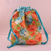 Orange And Aqua Floral Drawstring Bag