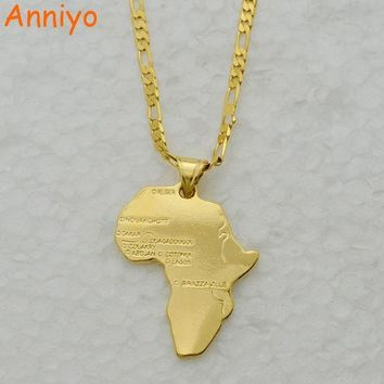 ac spbest Anniyo 8 Style/Map of Africa Pendant Necklace Chain 45cm/60cm African Map set Jewelry Gold Color Jewellry for Women/Men/Girl