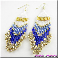 Seed Bead Earrings Chandelier Dangle Beadwork in Blues