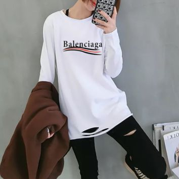 """Balenciaga""Woman Casual Fashion Letter Pattern Wild  broken Hole  Long Sleeve T-shirt Tops"