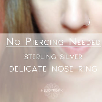 No Piercing Silver Nose Ring - Non Piercing Sterling Silver Nose Ring - Thin, delicate Nose Ring - Fake Nose Ring - Nose Hoop 28 Gauge