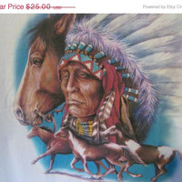 Indian Chief in Full Headress Horse T Shirt Native American Indian Shirt