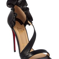 Christian Louboutin Colankle 120 Leather Ruffle Heel Sandal