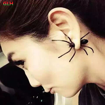 1PCS) 2016 new fashion jewelry girl cool black spider earrings female gifts