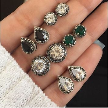 RAVINOUR Brincos Femme 4Pairs Bohemian Stud Earring Set Boho Green Black Crystal Droplet Earrings for Women Jewelry Indian