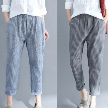 Woman Linen Striped Harem Pants Fashion Loose Striped Full Pants Casual Pants