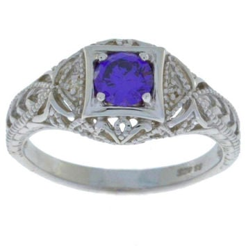 Amethyst & Diamond Round Ring .925 Sterling Silver