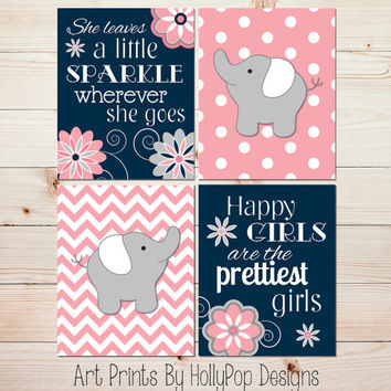 Elephant Nursery Art Coral Navy Nursery Baby Girl Nursery Wall Decor She Leaves a Little Sparkle prints Toddler Girls Room Art Prints #0926