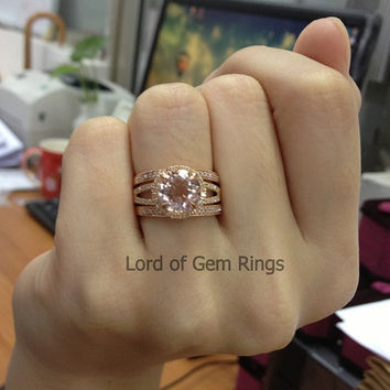 3 Wedding Ring Sets!Claw Prongs Round Pink Morganite With Halo Diamonds  Engagement Rin