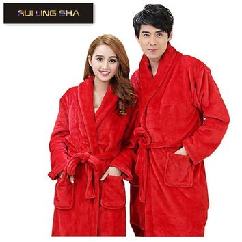 Women / Men Thick Soft Coral Fleece Robe In Solid Colors