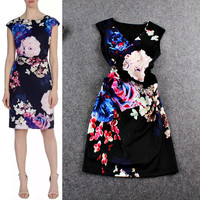 Black Cap Sleeves Floral  Waist Pleated  A-Line Dress