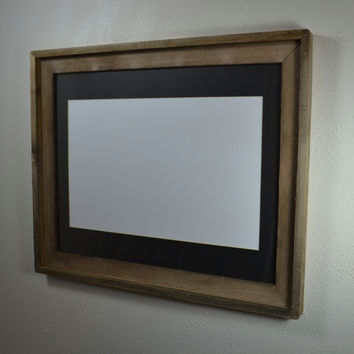 16x20 picture frame from old wood with mat for 11x14,12x16,11x17 or 12x18 picture or poster