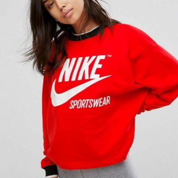 VXL8HQ NIKE Fashion Casual Pullover Big Logo Print Long Sleeve Sweater