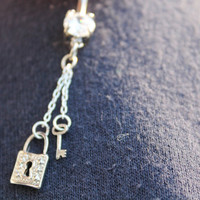 Lock and Key Dangle Chain Silver Belly Ring