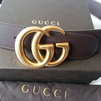 LMFUG7 Authentic Cocoa Brown Leather Gucci Belt w/Double G Buckle Gold 397660 Size 85