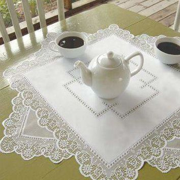 Prelude 42 x 42 White Lace Table Topper