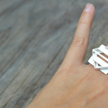 Symmetry- Geometric Bold Ring in Argentium Silver
