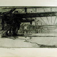Airplane Assembly by Kent Hagerman Etching