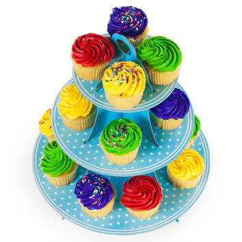 Blue Polka Dot 3 Tier Cupcake Stand
