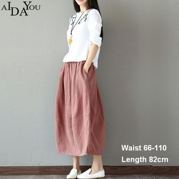 New women cotton linen long skirt elastic waist mid calf a line loose skirts lady Girls for holiday casual with pocket ouc1157