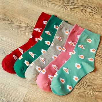 Sunny Side Up - Mid-high Socks Funny Crazy Cool Novelty Cute Fun Funky Colorful