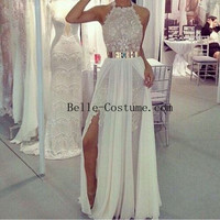White Prom dress, White Prom Dresses, Lace Evening Dresses, White Lace Evening Dress