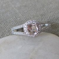 Double Shank Morganite Ring- Silver Engagement Ring- Promise Ring for her- Gemstone Ring- Round Setting Wedding Ring- Bridal Ring-Halo Ring