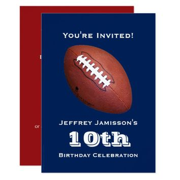 10th Birthday Party Invitation, Football Invitation