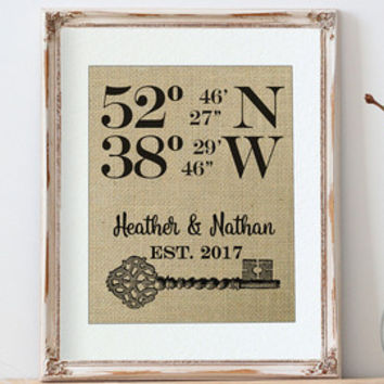 Our First Home | Personalized Housewarming Gift | House Warming Gift, Family Name Sign, Home Address Sign, Burlap New House Gift, First Home