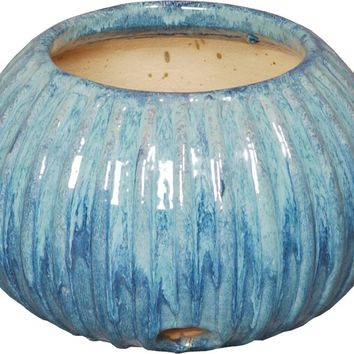 Pumpkin Style Ceramic Garden Hose Container With Turquoise Glaze