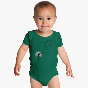 Dandelion With Flying Birds Baby Onesuits
