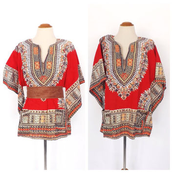 Vintage 1960s Pakistani Dashiki 70s Bell Sleeve Blouse Cotton Shirt Hippie 60s Batik Tunic Top Boho Size Medium Ethnic Peasant Blouse
