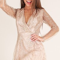 Dreamy Nights dress in gold sequin Produced By SHOWPO