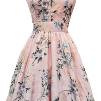 LADY VINTAGE TEA DRESS Pastel Pink Floral Hepburn Rockabilly Flared SIZE 8-20