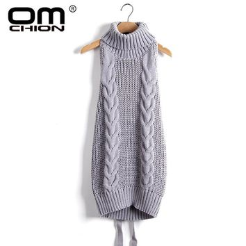 Women sleeveless Turtle Neck Cable Knit Sweater Dress
