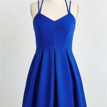 A Line Royal Blue Short Prom Dress with Cross Back, Royal Blue Formal Dresses, Graduation Dresses, Short Homecoming Dresses