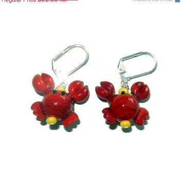 20% OFF Red and Yellow Lobster Lampwork Glass Dangle Earrings, Sterling Silver