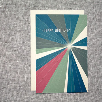 Birthday Card Light Speed Blank Blue Pink Olive