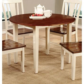 Cassy Transitional Round Dining Table, Vintage White