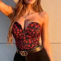 Women's new sexy love print wrapped chest rim jacket T-shirt