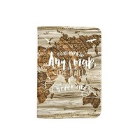 Adventure World Map Wooden Pattern [Name Customized] Leather Passport Holder - Leather Passport Cover - Travel Accessory- Travel Wallet for Women and Men_SCORPIOshop