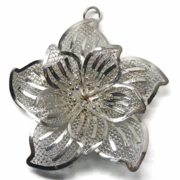Vintage Flower Brooch Pendant Figural Filigree Sterling