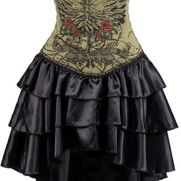 Army Green Vintage Steampunk Corset Dress